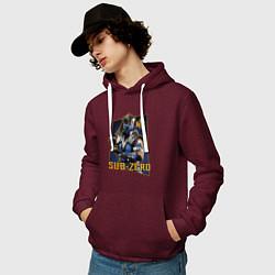 Толстовка-худи хлопковая мужская Sub-Zero цвета меланж-бордовый — фото 2
