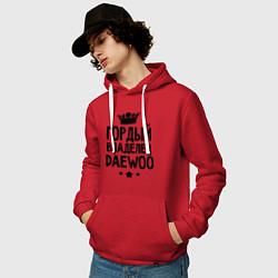 Толстовка-худи хлопковая мужская Гордый владелец Daewoo цвета красный — фото 2