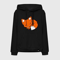 Толстовка-худи хлопковая мужская Спящий лисёнок цвета черный — фото 1