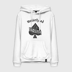 Толстовка-худи хлопковая мужская Motorhead: Ace of spades цвета белый — фото 1