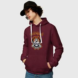 Толстовка-худи хлопковая мужская Motorhead цвета меланж-бордовый — фото 2