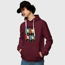 Толстовка-худи хлопковая мужская Dostoevsky цвета меланж-бордовый — фото 2