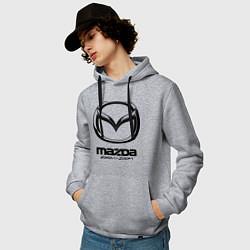 Толстовка-худи хлопковая мужская Mazda Zoom-Zoom цвета меланж — фото 2