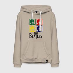 Толстовка-худи хлопковая мужская The Beatles: Colors цвета миндальный — фото 1
