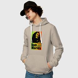Толстовка-худи хлопковая мужская Bob Marley: Jamaica цвета миндальный — фото 2