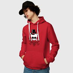 Толстовка-худи хлопковая мужская Череп жениха цвета красный — фото 2