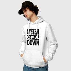 Толстовка-худи хлопковая мужская System Of A Down цвета белый — фото 2