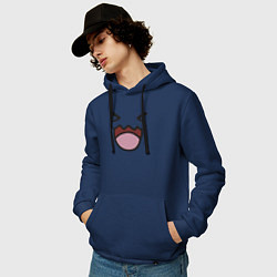 Толстовка-худи хлопковая мужская Wobbuffet цвета тёмно-синий — фото 2