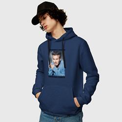 Толстовка-худи хлопковая мужская Дэвид Бекхэм: Чемпионами становятся цвета тёмно-синий — фото 2