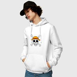 Толстовка-худи хлопковая мужская Весёлый Роджер Мугивар цвета белый — фото 2