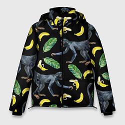 Куртка зимняя мужская Обезьянки и бананы цвета 3D-черный — фото 1