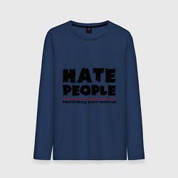 Лонгслив хлопковый мужской Hate People цвета тёмно-синий — фото 1