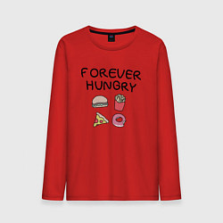 Лонгслив хлопковый мужской Forever Hungry цвета красный — фото 1