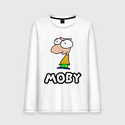 Лонгслив хлопковый мужской Moby цвета белый — фото 1
