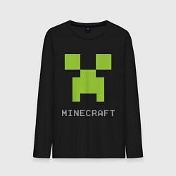 Лонгслив хлопковый мужской Minecraft logo grey цвета черный — фото 1
