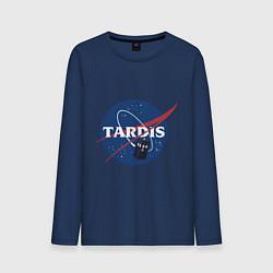 Лонгслив хлопковый мужской Tardis NASA цвета тёмно-синий — фото 1