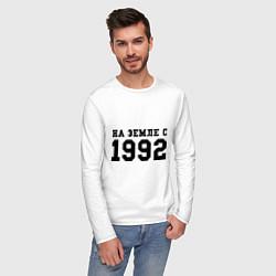 Лонгслив хлопковый мужской На Земле с 1992 цвета белый — фото 2