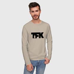 Лонгслив хлопковый мужской TFK: Black Logo цвета миндальный — фото 2