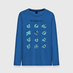 Лонгслив хлопковый мужской Мои ежедневные инструменты цвета синий — фото 1