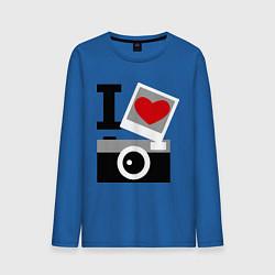 Лонгслив хлопковый мужской Я люблю фото цвета синий — фото 1