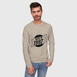 Лонгслив хлопковый мужской Made in 1987 цвета миндальный — фото 2