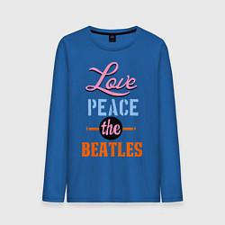 Лонгслив хлопковый мужской Love peace the Beatles цвета синий — фото 1