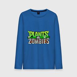 Лонгслив хлопковый мужской Plants vs zombies цвета синий — фото 1