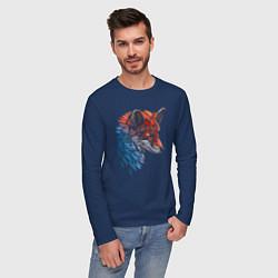 Лонгслив хлопковый мужской Пестрая лисица цвета тёмно-синий — фото 2