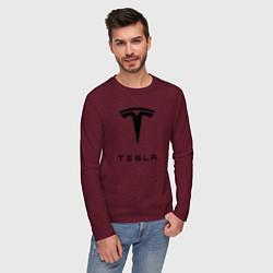 Лонгслив хлопковый мужской TESLA Mobile цвета меланж-бордовый — фото 2