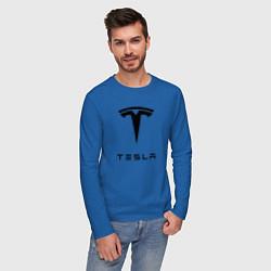 Лонгслив хлопковый мужской TESLA Mobile цвета синий — фото 2