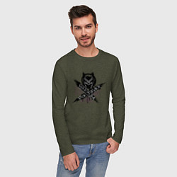 Лонгслив хлопковый мужской Ваканда цвета меланж-хаки — фото 2