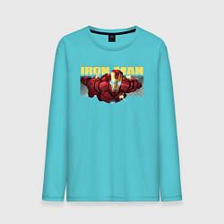 Лонгслив хлопковый мужской Iron Man: Mark IV цвета бирюзовый — фото 1