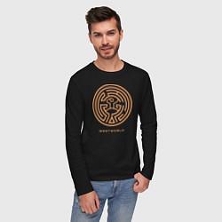 Лонгслив хлопковый мужской Westworld labyrinth цвета черный — фото 2