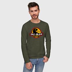 Лонгслив хлопковый мужской PAC-MAN цвета меланж-хаки — фото 2