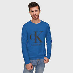 Лонгслив хлопковый мужской Calvin Klein цвета синий — фото 2