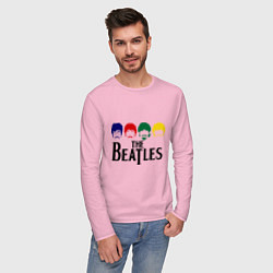 Лонгслив хлопковый мужской The Beatles Heads цвета светло-розовый — фото 2