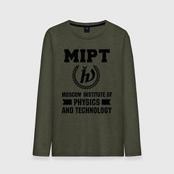 Лонгслив хлопковый мужской MIPT Institute цвета меланж-хаки — фото 1
