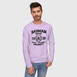 Лонгслив хлопковый мужской BAUMAN University цвета лаванда — фото 2