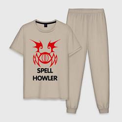 Пижама хлопковая мужская Dark Elf Mage - Spell Howler цвета миндальный — фото 1