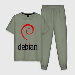 Пижама хлопковая мужская Debian цвета авокадо — фото 1