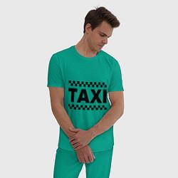 Пижама хлопковая мужская Taxi цвета зеленый — фото 2