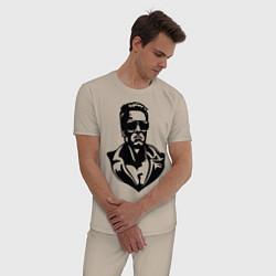 Пижама хлопковая мужская Железный Арни цвета миндальный — фото 2