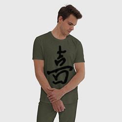Пижама хлопковая мужская Счастье цвета меланж-хаки — фото 2