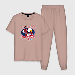 Пижама хлопковая мужская Washington Capitals Hockey цвета пыльно-розовый — фото 1