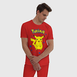 Пижама хлопковая мужская Pokemon цвета красный — фото 2