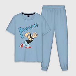 Пижама хлопковая мужская Popeye цвета мягкое небо — фото 1