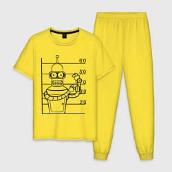 Пижама хлопковая мужская Bender Wanted цвета желтый — фото 1