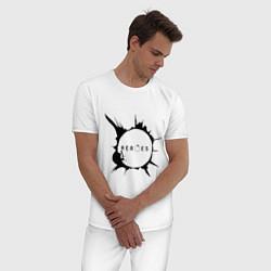 Пижама хлопковая мужская Heroes spot цвета белый — фото 2