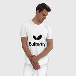 Пижама хлопковая мужская Butterfly Logo цвета белый — фото 2