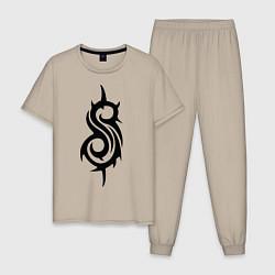 Пижама хлопковая мужская Slipknot цвета миндальный — фото 1